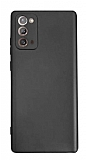 Samsung Galaxy Note 20 Kamera Korumalı Mat Siyah Silikon Kılıf