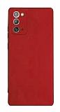 Samsung Galaxy Note 20 Kamera Korumalı Mat Kırmızı Silikon Kılıf