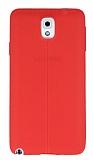 Samsung Galaxy Note 3 Deri Desenli Ultra İnce Kırmızı Silikon Kılıf