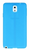 Samsung Galaxy Note 3 Deri Desenli Ultra İnce Mavi Silikon Kılıf