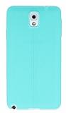 Samsung Galaxy Note 3 Deri Desenli Ultra İnce Su Yeşili Silikon Kılıf