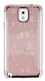 Samsung Galaxy Note 3 Taşlı Kenarlı Simli Rose Gold Silikon Kılıf