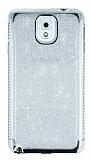 Samsung Galaxy Note 3 Taşlı Kenarlı Simli Silver Silikon Kılıf