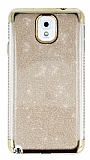 Samsung Galaxy Note 3 Taşlı Kenarlı Simli Gold Silikon Kılıf