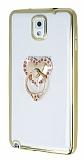 Samsung N9000 Galaxy Note 3 Taşlı Kalp Selfie Yüzüklü Gold Silikon Kılıf