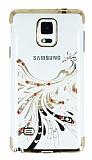 Samsung Galaxy Note 4 Gold Peacock Taşlı Şeffaf Silikon Kılıf