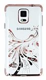 Samsung Galaxy Note 4 Rose Gold Peacock Taşlı Şeffaf Silikon Kılıf