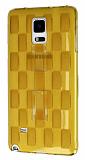 Samsung Galaxy Note 4 Selfie Y�z�kl� Ekose �effaf Gold Silikon K�l�f
