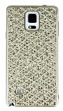 Samsung Galaxy Note 4 Simli Kumaş Gold Silikon Kılıf