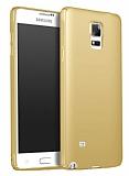 Samsung Galaxy Note 4 Tam Kenar Koruma Gold Rubber Kılıf