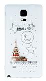Samsung Galaxy Note 4 Taşlı Kız Kulesi Şeffaf Silikon Kılıf