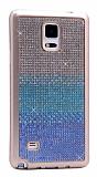 Samsung Galaxy Note 4 Taşlı Geçişli Mavi Silikon Kılıf