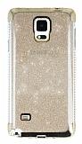 Samsung Galaxy Note 4 Taşlı Kenarlı Simli Gold Silikon Kılıf