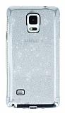 Samsung Galaxy Note 4 Taşlı Kenarlı Simli Silver Silikon Kılıf
