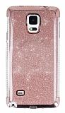 Samsung Galaxy Note 4 Taşlı Kenarlı Simli Rose Gold Silikon Kılıf