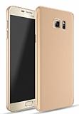 Samsung Galaxy Note 5 Tam Kenar Koruma Gold Rubber Kılıf