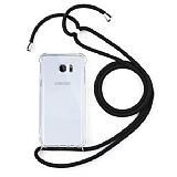 Samsung Galaxy Note 5 Siyah Askılı Şeffaf Silikon Kılıf