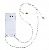 Samsung Galaxy Note 5 Beyaz Çizgili Askılı Şeffaf Silikon Kılıf