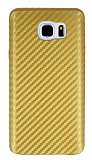 Samsung Galaxy Note 5 Karbon Görünümlü Gold Rubber Kılıf