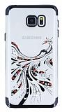 Samsung Galaxy Note 5 Siyah Peacock Taşlı Şeffaf Silikon Kılıf