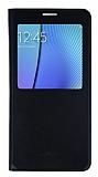 Samsung Galaxy Note 5 Pencereli İnce Yan Kapaklı Siyah Kılıf