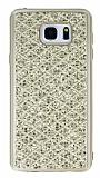 Samsung Galaxy Note 5 Simli Kumaş Gold Silikon Kılıf