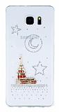 Samsung Galaxy Note 5 Taşlı Kız Kulesi Şeffaf Silikon Kılıf