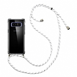 Samsung Galaxy Note 8 Beyaz Çizgili Askılı Şeffaf Silikon Kılıf