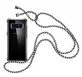 Samsung Galaxy Note 8 Çizgili Askılı Şeffaf Silikon Kılıf