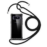 Samsung Galaxy Note 8 Siyah Askılı Şeffaf Silikon Kılıf