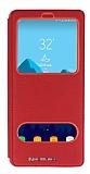 Samsung Galaxy Note 8 Gizli Mıknatıslı Çift Pencereli Kırmızı Deri Kılıf