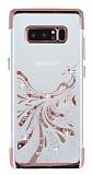 Samsung Galaxy Note 8 Rose Gold Peacock Taşlı Şeffaf Silikon Kılıf