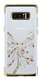 Samsung Galaxy Note 8 Gold Peacock Taşlı Şeffaf Silikon Kılıf