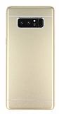 Samsung Galaxy Note 8 Silikon Kenarlı Metal Gold Kılıf