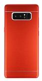 Samsung Galaxy Note 8 Silikon Kenarlı Metal Kırmızı Kılıf