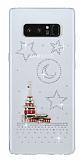 Samsung Galaxy Note 8 Taşlı Kız Kulesi Şeffaf Silikon Kılıf