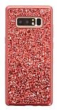Samsung Galaxy Note 8 Taşlı Kırmızı Silikon Kılıf