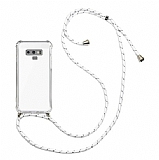 Samsung Galaxy Note 9 Beyaz Çizgili Askılı Şeffaf Silikon Kılıf