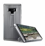 Samsung Galaxy Note 9 Standlı Silver Rubber Kılıf
