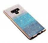 Samsung Galaxy Note 9 Taşlı Geçişli Mavi Silikon Kılıf