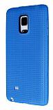 Samsung Galaxy Note Edge Nokta Desenli Mat Mavi Silikon K�l�f