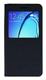 Samsung Galaxy On5 Pencereli Kapaklı Siyah Deri Kılıf