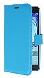 Samsung Galaxy On7 Cüzdanlı Yan Kapaklı Mavi Deri Kılıf