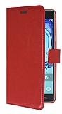 Samsung Galaxy On7 Cüzdanlı Yan Kapaklı Kırmızı Deri Kılıf