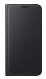 Samsung Galaxy On7 Cüzdanlı Yan Kapaklı Siyah Deri Kılıf