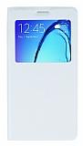 Samsung Galaxy On7 Pencereli Kapakl� Beyaz Deri K�l�f