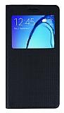 Samsung Galaxy On7 Pencereli Kapakl� Siyah Deri K�l�f