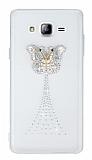Samsung Galaxy On7 Taşlı Kelebek Şeffaf Silikon Kılıf
