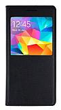 Samsung Galaxy Grand Prime Pencereli İnce Kapaklı Siyah Kılıf