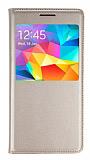 Samsung Galaxy Grand Prime / Prime Plus Pencereli İnce Kapaklı Gold Kılıf